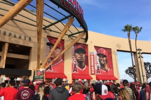 People wait to get into Angel Stadium