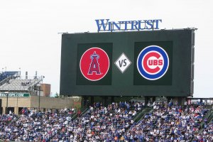 Angels vs. Cubs on scoreboard - June 3, 2019