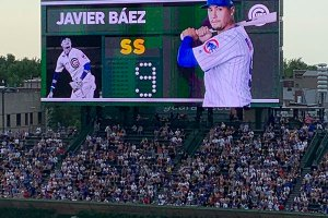 Javier Baez on scoreboard - June 24, 2019