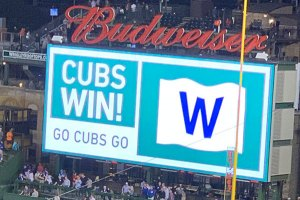Cubs Win on Scoreboard