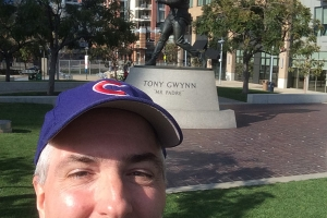 Pat in front of Tony Gwynn Statue at Petco Park