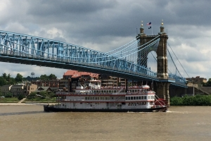Roebling Suspension Bridge with steam ship