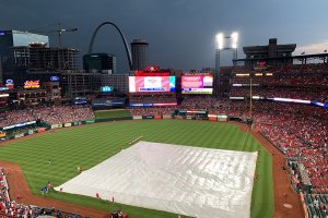 View from behind home plate during rain delay at Busch Stadium  - June 1, 2019