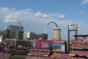 St. Lous  skyline and Arch from behind home plate at Busch Stadium  - June 1, 2019