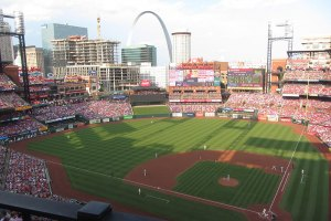 View of Arch from behind home plate at Busch Stadium - June 1, 2019