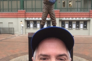Pat at Ernie Banks Statue