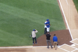 Broadway Joe Namath celebrates throwing out the first pitch to Joe Maddon.