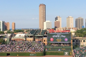 City of Chicago behind the right field scoreboard.