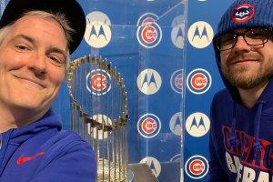 Pat and Tommy with World Series Trophy - April 24, 2019